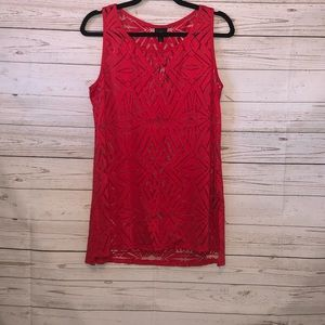 NWT Women's Large Red and Sheer Blouse